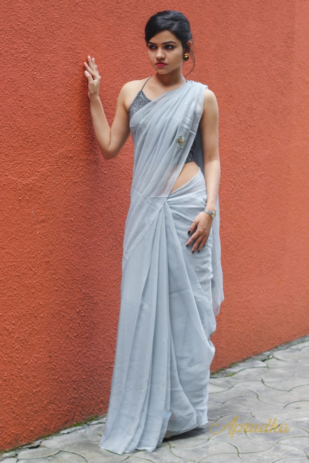 Smoke Grey Chiffon Saree