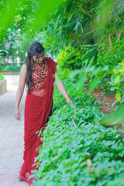 Ruby Red chiffon Saree
