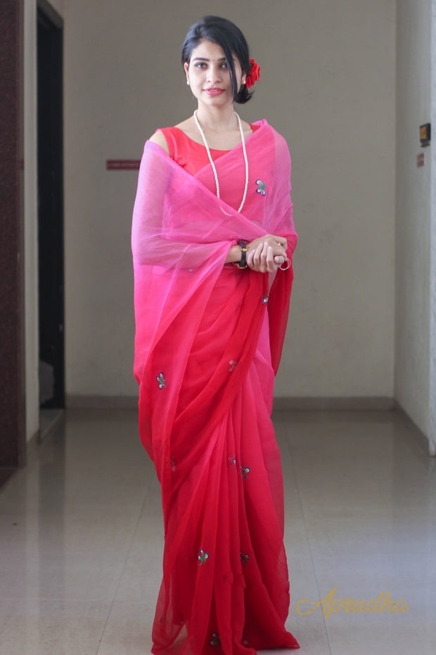 Hot Pink Chiffon Saree