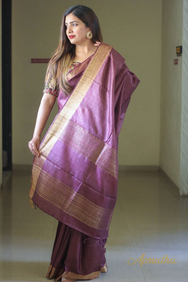 Magenta Purple Kosa Silk Saree