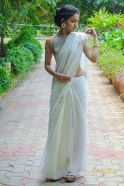 Porcelain White chiffon Saree