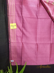 Creamy Pink Silk Saree