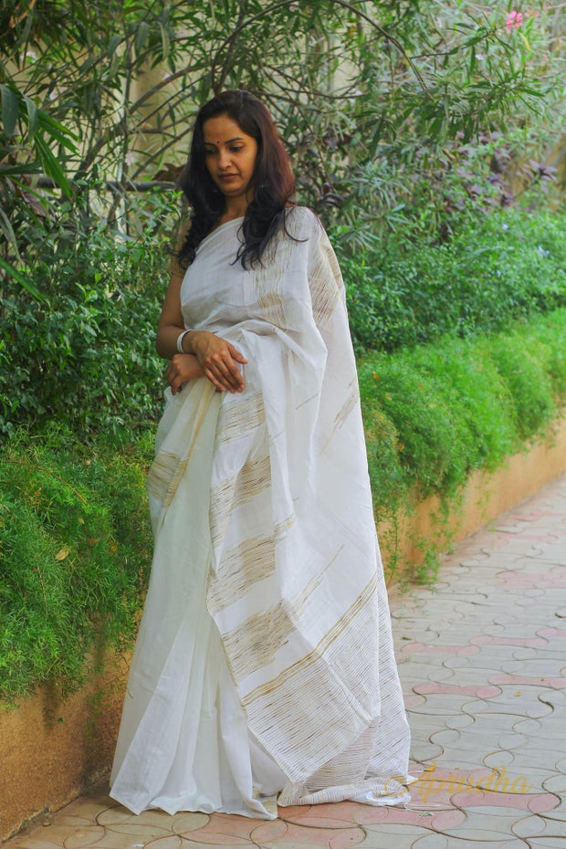 Off White Cotton Saree