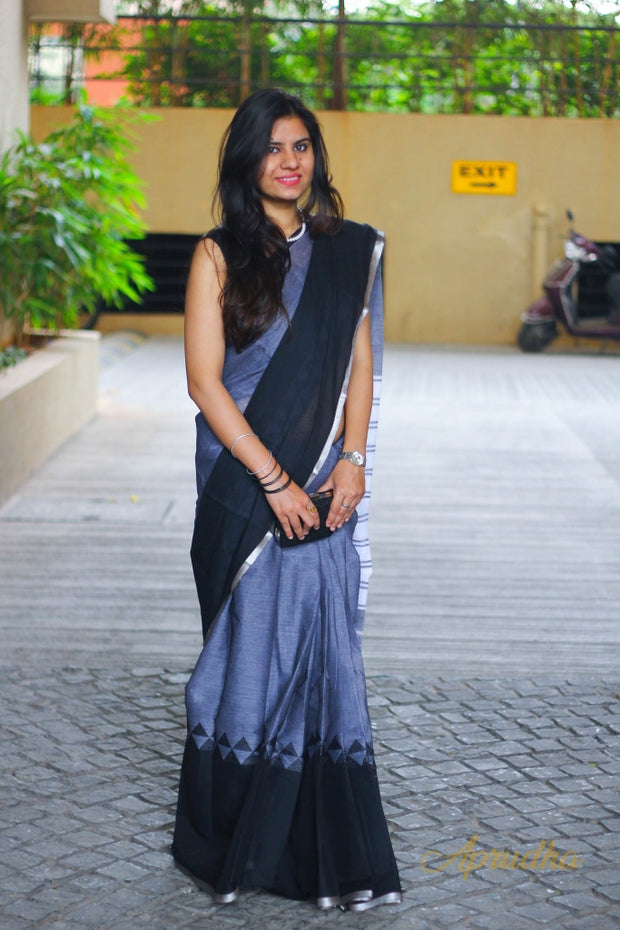Black/Grey Cotton Saree