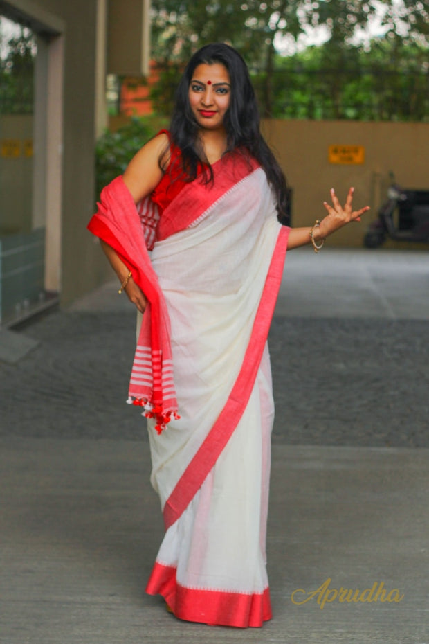 White Mul Cotton Saree With Red Border