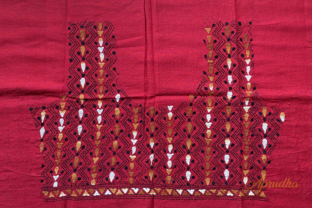 Urban Red Kantha Hand Embroidered Blouse Piece - Aprudha