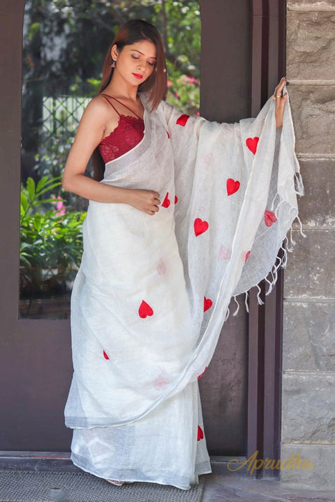 Red Hearts Linen White Saree