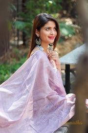 Light Purple Linen Stole - Aprudha