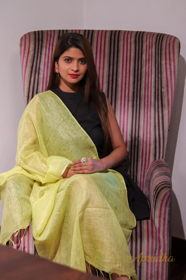 Cosco Yellow Linen Stole - Aprudha