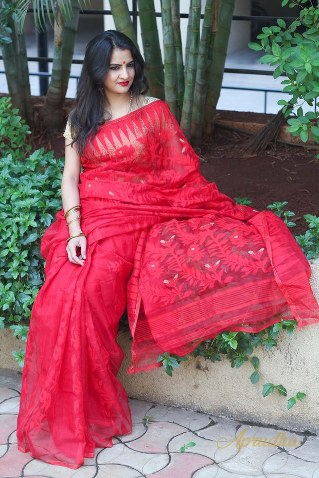 Scarlet Red Jamdani Saree