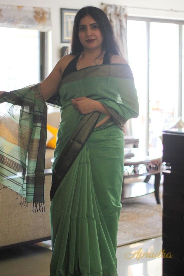 Sage Green Silk Cotton Saree