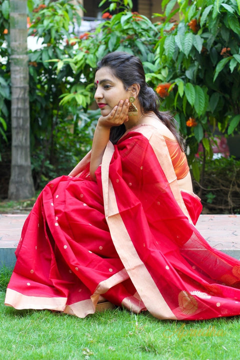 Hibiscus Red Saree