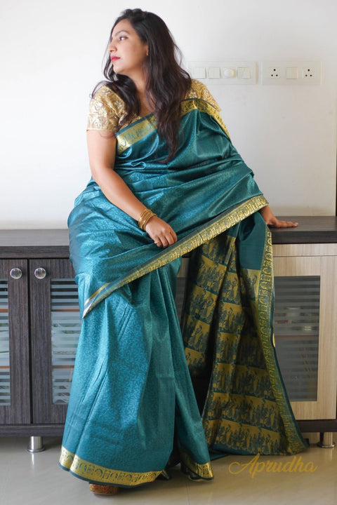 Goldi In Blue Silk Saree