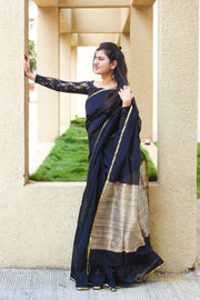 Black Silk Cotton Saree - Aprudha