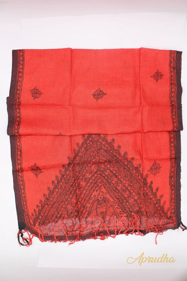 Red Madhubnai Hand Painted Stole - Aprudha