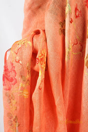 Starfish Orange Spring Inspired Linen Saree