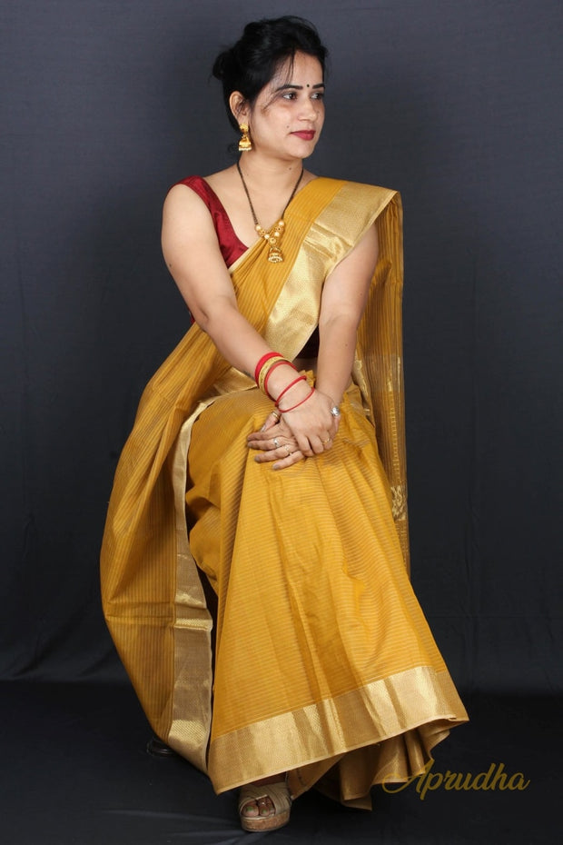 Soothing Goldenrod Silk Saree
