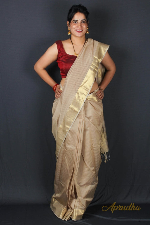 Beige golden border silk saree