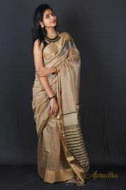 Beige check border silk saree