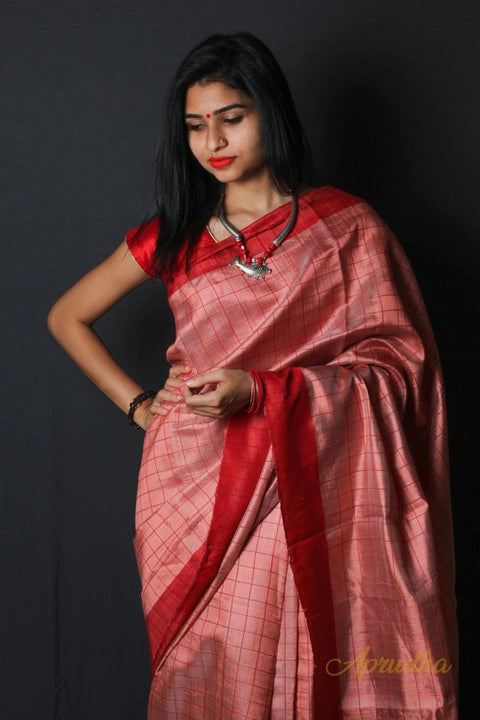 Shiney Coral Dupion Silk Saree