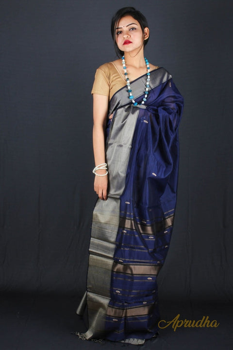Blue saree with silver border