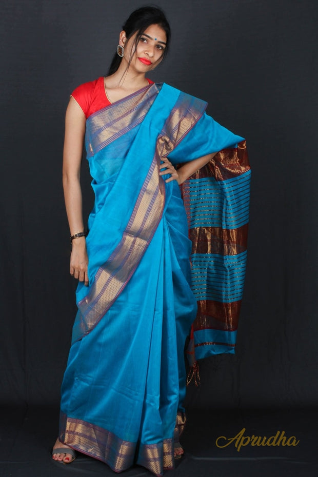 Beautiful Blue saree with golden red border