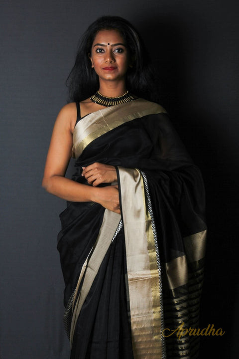 Black Saree with Golden and Chatai Border