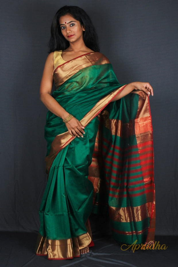 Green Silk Cotton Saree with Red Border