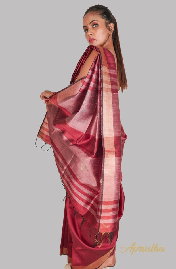 Cherry Maroon Silk Saree