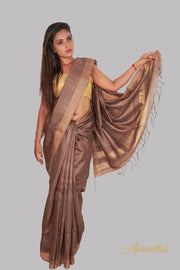 Coffee brown Kosa Silk Saree