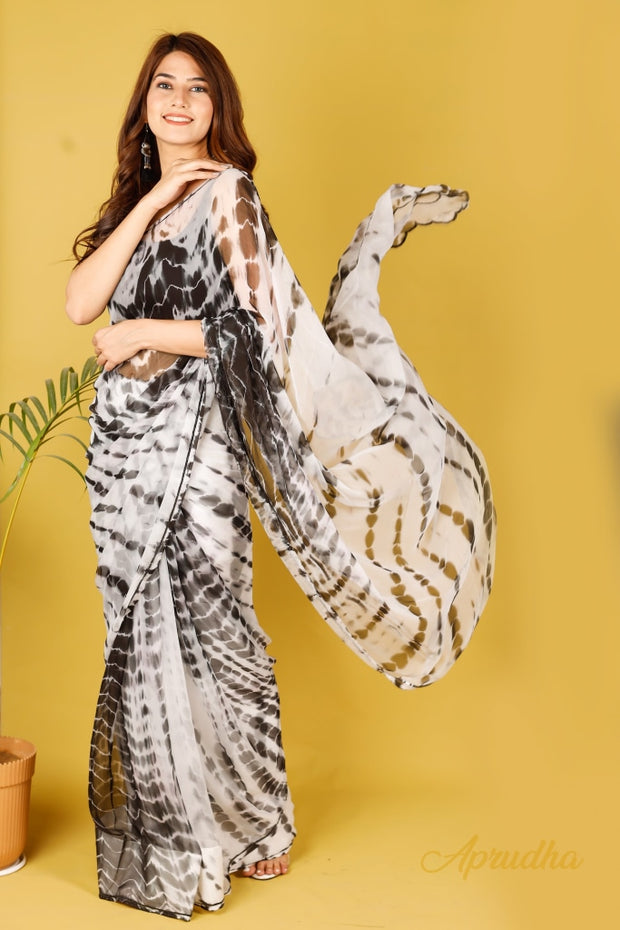 Blackjack Lilly Pure Chiffon Saree - Aprudha