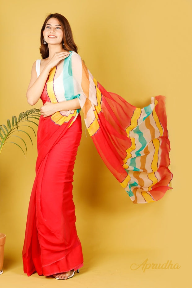 Laal Leheriya Pure Chiffon Saree