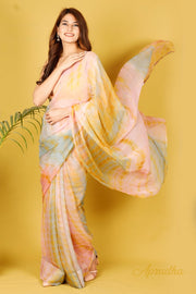 Kaner - Multi-Coloured Chiffon Saree