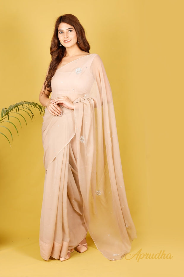 Tortilla Brown Chiffon Saree