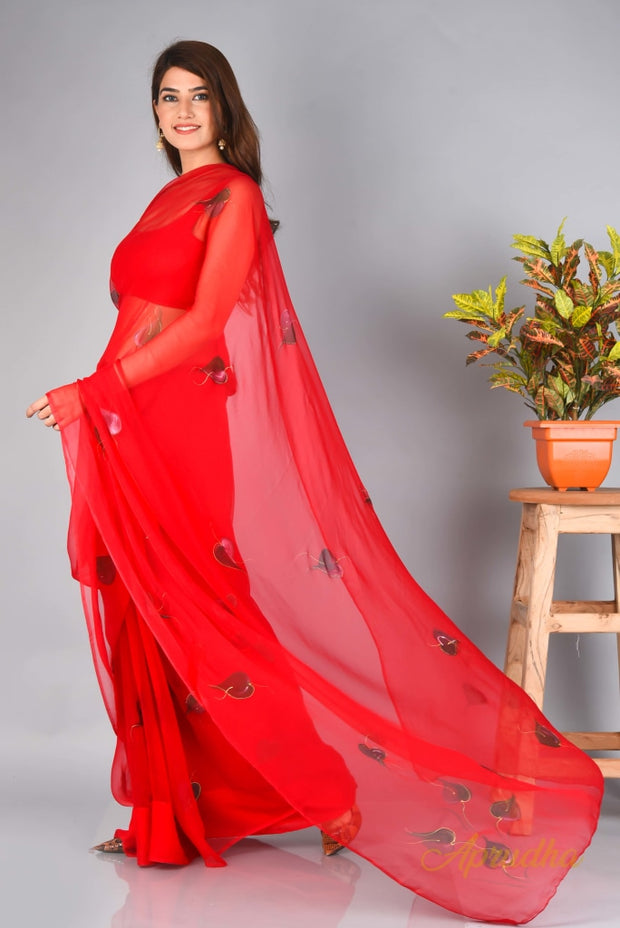 Mandeville Red Chiffon Saree