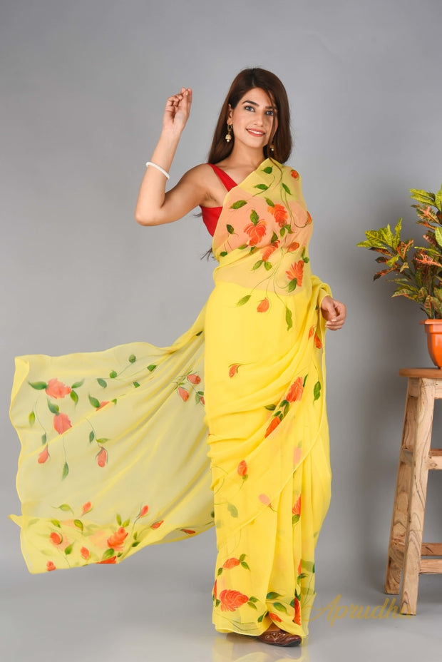 Bagiya Ki Genda In  Pure Chiffon Saree