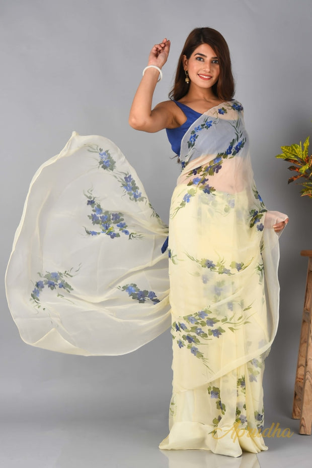 Blue Bell - Ivory Floral Hand Painted Chiffon Saree - Aprudha