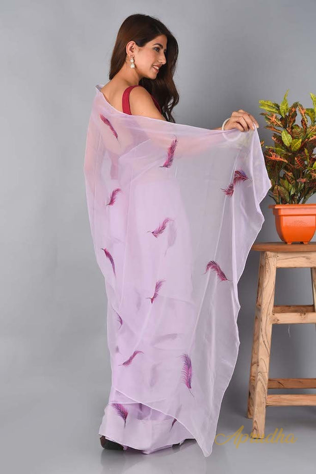Purple Feather - Powder Purple Chiffon Saree