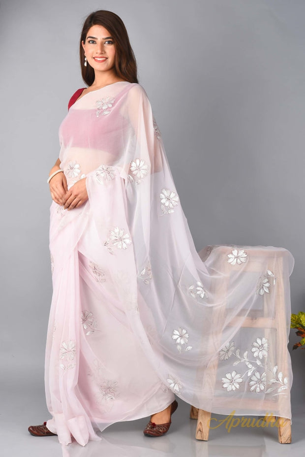 CALENDULA - Powder Pink Chiffon Saree