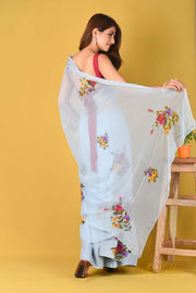 Daffodil - Powder Blue Floral Chiffon Saree