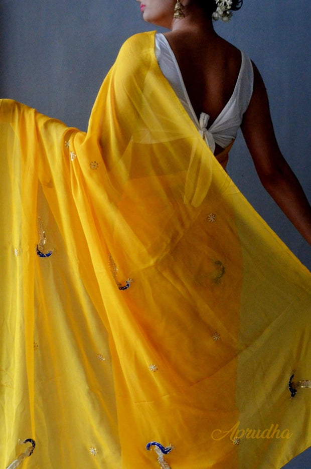 Iris Germanica Chiffon Saree