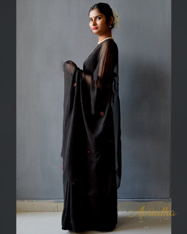 Ink Black Chiffon Saree
