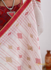 Lucent White Pure Cotton Jamdani Saree - Aprudha