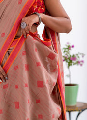 Cognac Brown Pure Cotton Jamdani Saree - Aprudha