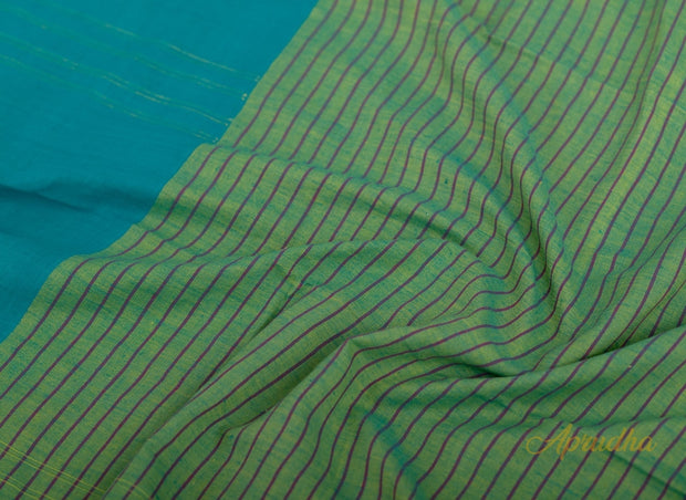 Ocean Blue Pure Cotton Jamdani Saree - Aprudha
