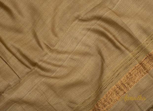 Light Elm Olive Tussar Silk Saree - Aprudha