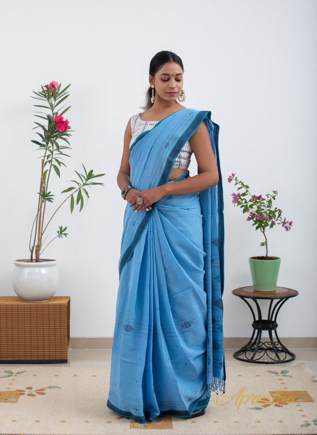 Glacier Lake Blue Pure Cotton Jamdani Saree - Aprudha