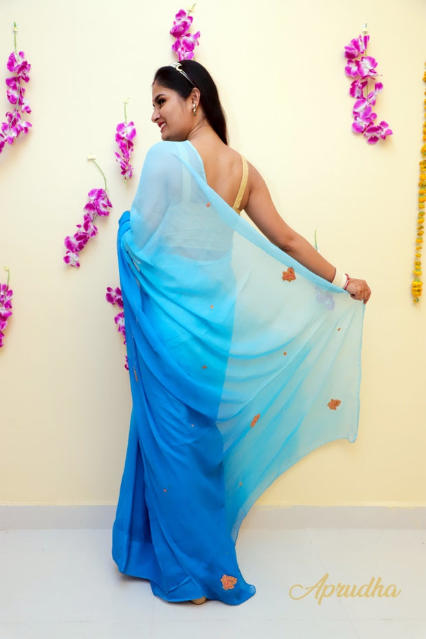 Ombre And Royal Blue Pure Chiffon saree