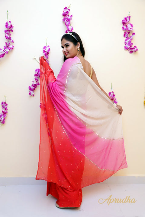 Rakta In Pure chiffon Saree