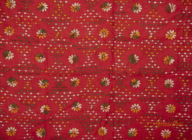 Red Floral Kantha Embroidered Blouse Piece